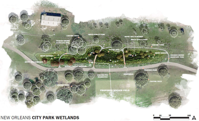 A rendering of the wetland area that will be constructed with the assistance of WEFTEC volunteers. Photo courtesy of New Orleans City Park.