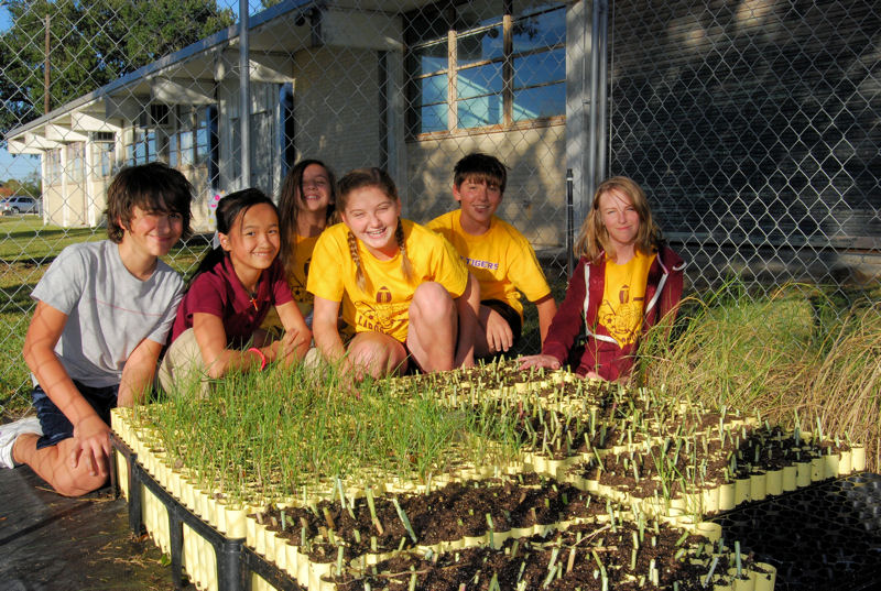 Students in Louisiana grow seedlings in schoolyard nurseries that will later be planted to restore coastal areas. This student opportunity was made possible by a NOAA B-WET grant to Louisiana State University. Photo courtesy of NOAA Gulf of Mexico B-WET.