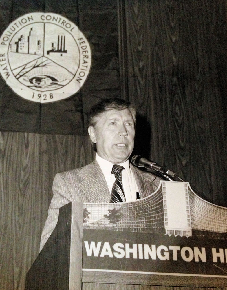 Sam Warrington, Water Environment Federation (WEF; Alexandria, Va.) president from 1974 to 1975, speaks at a WEF, then known as the Water Pollution Control Federation, event. WEF Archives photo.