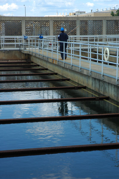 An operator works at DC Water's (Washington, D.C.) Blue Plains Advanced Wastewater Treatment Plant. Photo courtesy of John Clarke.