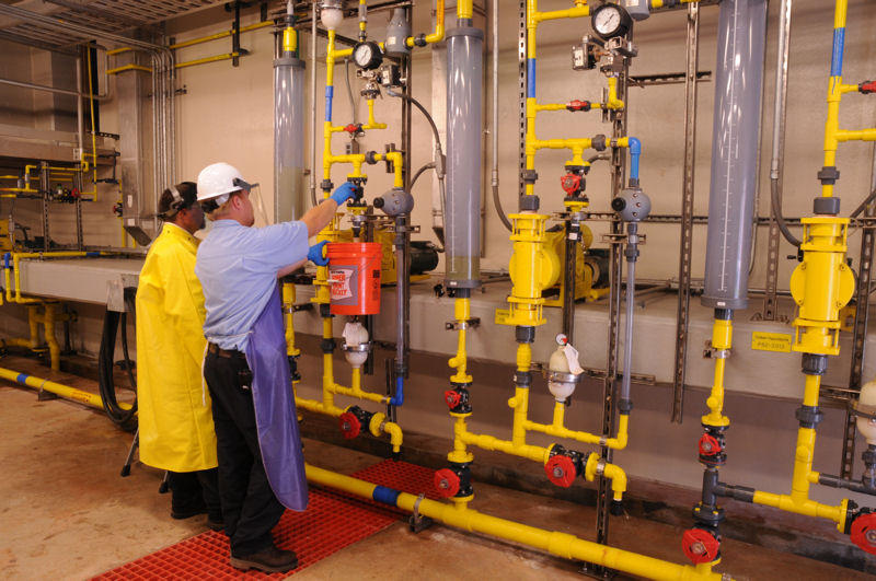 Operators work together at Loudoun Water's (Ashburn, Va.) Broad Run Water Reclamation Facility. Photo courtesy of John Clarke.