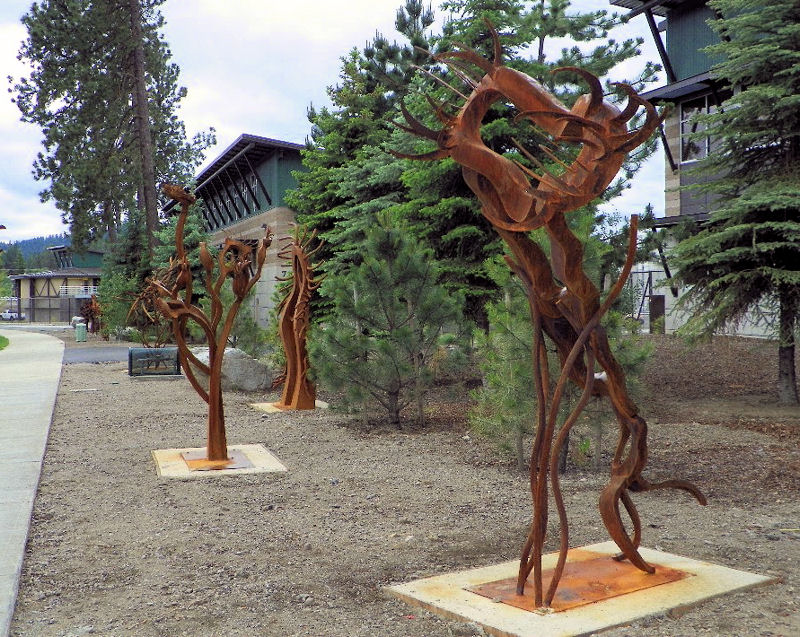 The City of Coeur d'Alene (Idaho) Wastewater Utility Department building features sculptures of wastewater treatment organisms by Allen & Mary Dee Dodge. Photo courtesy of the City of Coeur d'Alene Wastewater Utility Department.