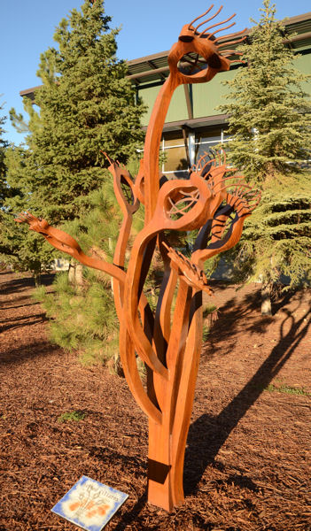 """A sculpture of a stalked ciliate, a microorganism used to help clarify effluent, is one of seven 3.7-m-tall (12-ft–tall), 136- to 181-kg (300- to 400-lb) steel sculptures meant to represent the many """"bugs"""" that aid the treatment process. Photo courtesy of Ristich."""