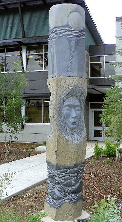 The City of Coeur d'Alene commissioned several art works to be featured in front of its wastewater utility department building including this obelisk that represents the sun, land, and water, created by local artist Dale Young. Photo courtesy of the City of Coeur d'Alene Wastewater Utility Department.
