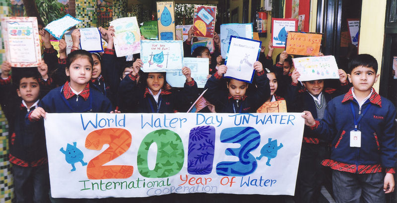 Students participate in a World Water Day 2013 event in India. The Paryavaran Mitra Programme event was held to increase students' knowledge and awareness of international water challenges. Photo courtesy of the Paryavaran Mitra Programme in India.