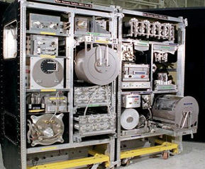 The ISS water-recycling system generates potable water after treating urine and condensate water. Photo courtesy of Flynn, NASA.