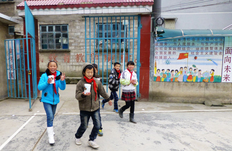 Students take World Water Monitoring Challenge kits out to test their waterways in China. World Water Monitoring Challenge (WWMC) photo.
