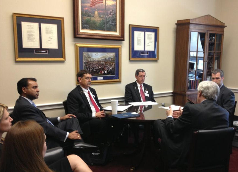 Water Environment Federation (WEF; Alexandria, Va.) member Curtis Smalley, fourth from left, attends a meeting with a Texas congressional representative during the 2013 Water Matters! Fly-In. Photo courtesy of Smalley. Photo courtesy of Curtis Smalley.