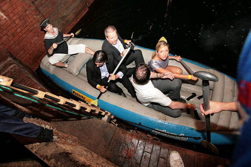 A separate feature of the Old Wastewater Treatment Plant tour in Bubeneč, Czech Republic, is an underground raft ride. Photo courtesy of Tomáš Věžník.
