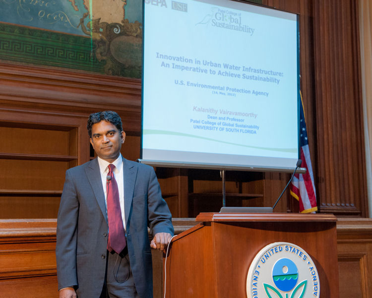 Vairavamoorthy's lecture, organized by the Water Environment Federation (Alexandria, Va.) and the Water Environment Research Foundation (Alexandria), hosted about 150 people. It was one of a series of ongoing events to drive innovation in the water sector. Photo courtesy of Eric Vance ©U.S. EPA.