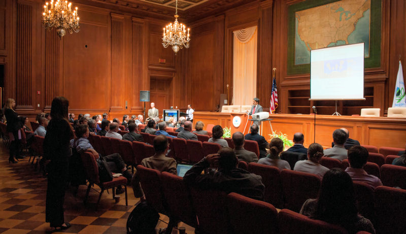 Vairavamoorthy presented a lecture at U.S. Environmental Protection Agency headquarters about the need to revolutionize water infrastructure. Photo courtesy of Eric Vance ©U.S. EPA.