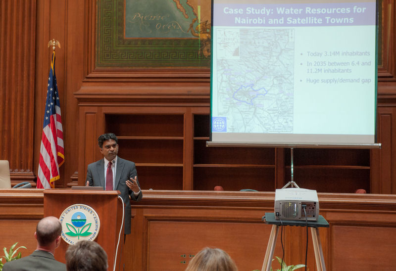 """Vairavamoorthy provided examples of where drastically different approaches to water resources management are reducing water consumption. He said, """"All water is good water – fit for a purpose."""" Photo courtesy of Eric Vance ©U.S. EPA."""