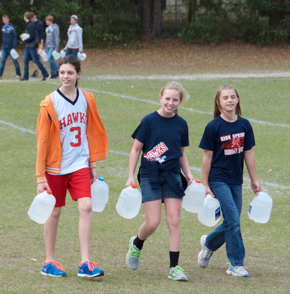 Third top water savers, High Springs (Fla.) Community School, educated students about the value of water by hosting a Long Walk to Water event. For the event, students carried water to raise money to fund a Rotary International (Evanston, Ill.) well-constructing project. Photo courtesy of Judith K. Weaver, High Springs Community School.