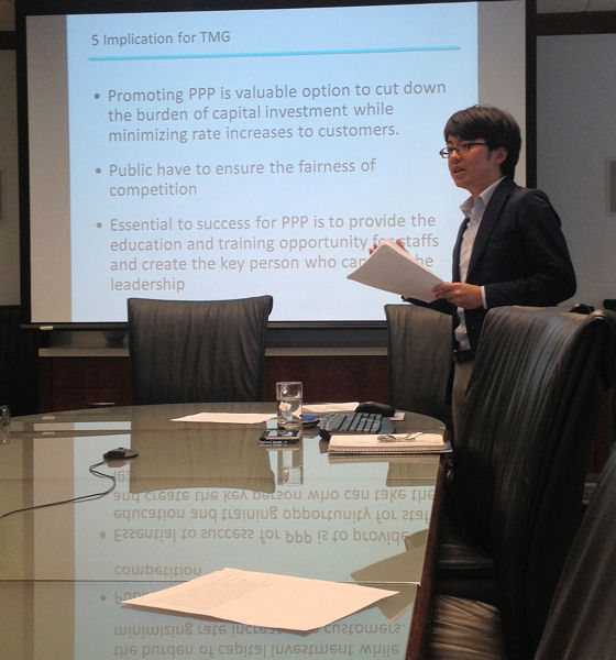 Masaaki Nakayama, team leader in the budget and planning section at Tokyo Municipal Government, Bureau of Waterworks, presents research on public-private partnerships at Water Environment Federation (WEF; Alexandria, Va.) headquarters. WEF photo/Jennifer Fulcher.