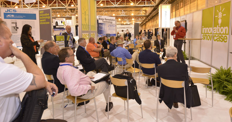Innovation Pavilion at booth 775 will feature discussions on water-innovation clusters, accelerator programs, and the Bill and Melinda Gates Foundation (Seattle) efforts on reinventing the toilet as well as a Charting New Waters Reception. Photo courtesy of Oscar Einzig Photography.