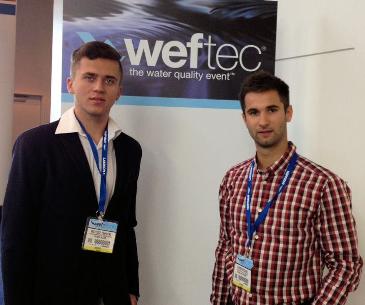 From left, Mateusz Zawidzki and Szymon Mydlarz attended WEFTEC 2013 as part of an award for their ecological flush control system. WEF photo/Lori Harrison.