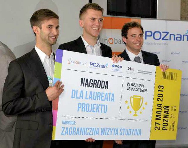 From left, Mydlarz, Zawidzki, and Pawel Zukowski won the Poznań Science and Technology Park (Poznań, Poland) first step to personal business competition for their system that optimizes the amount of water flushed by toilets. Photo courtesy of Mydlarz.