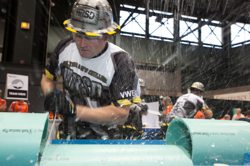 Team HRSD member Kevin Hafner cuts pipe during the Collection Systems event. Photo courtesy of Kieffer Photography.