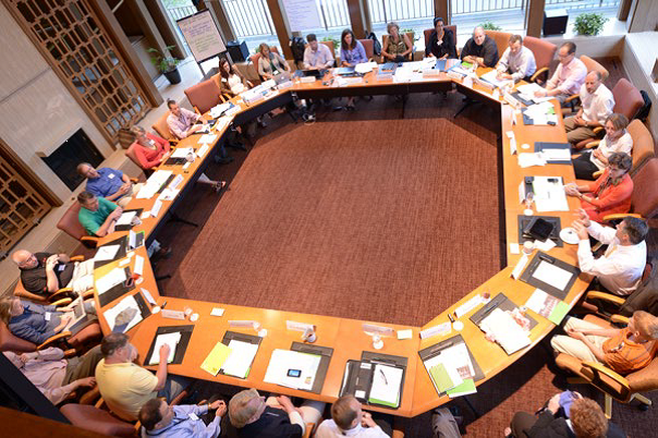 In August 2013, water and energy experts gather at The House, The Johnson Foundation at Wingspread (Racine, Wis.) to discuss potential collaboration between the water, wastewater, and electric-power sectors. Photo courtesy of The Johnson Foundation at Wingspread.