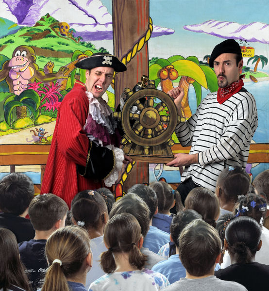 """The Water Pirates of Neverland: Oceans 3 ½"" actors perform a script that incorporates classroom curriculum, digital educational games, and homework assignments to teach about water. Photo courtesy of The National Theatre for Children."