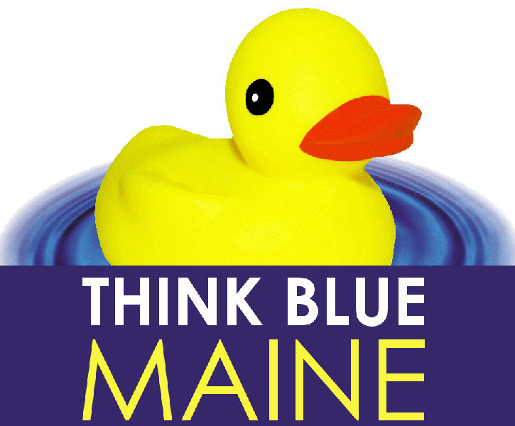 The yellow duck takes center-stage on all stormwater materials created by Think Blue Maine, including its logo. Photo courtesy of Think Blue Maine.