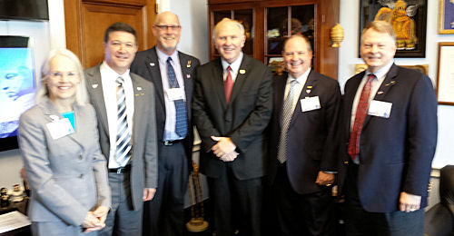 OWEA leaders met with U.S. Rep. Steve Chabot (R–Ohio) during the Fly-In. Pictured from left are Henrich, Angelo, Clark, Chabot, Alan Vicory, OWEA member and chair of WEF's Government Affairs Committee, and Kocarek. Photo courtesy of Henrich.