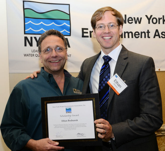 From left, Koester presents high school student, Ethan Bodnaruk, with a NYWEA scholarship to pursue an environmental degree in college. Photo courtesy of NYWEA.