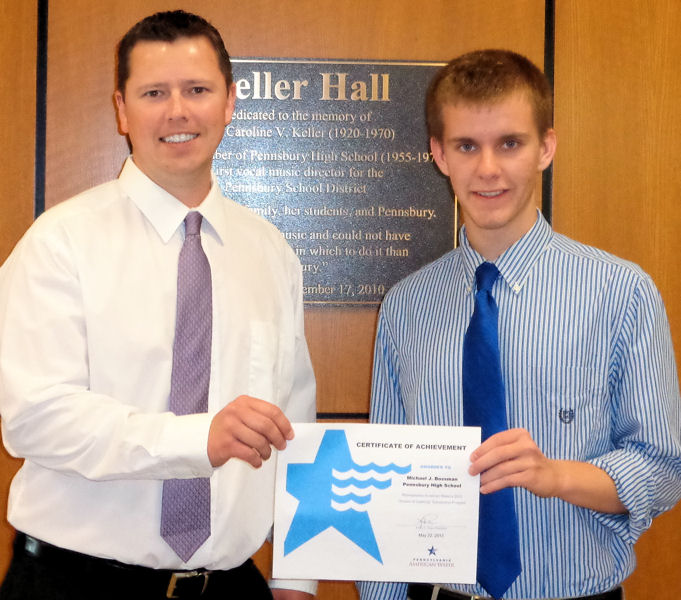 Michael Bossman (right) received a scholarship from Pennsylvania American Water (Hershey) in 2013  to pursue water-sector related degrees in college. Photo courtesy of Pennsylvania American Water.