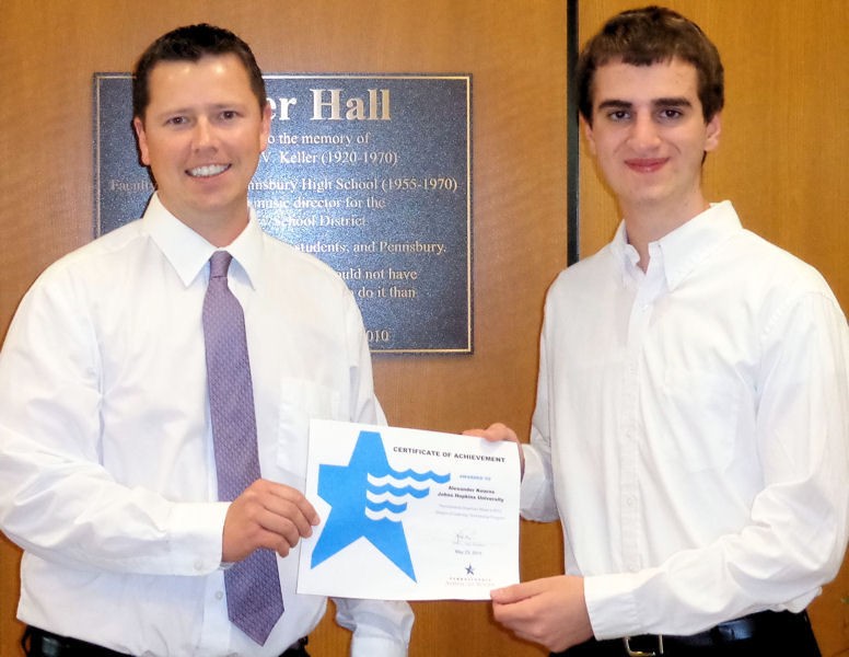 Alex Kearns (right) received a scholarship from Pennsylvania American Water in 2013 to pursue water-sector related degrees in college. Photo courtesy of Pennsylvania American Water.