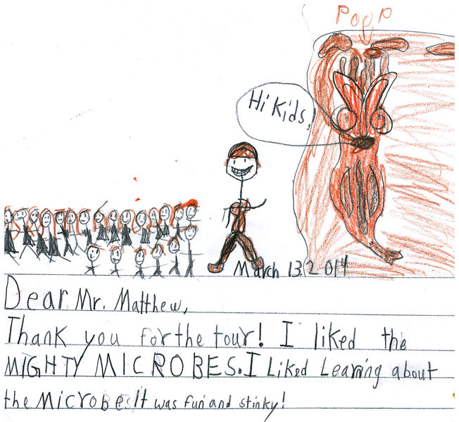 Hickory Valley Christian School students sent Snyder thank you notes for his presentation about microbes. Photo courtesy of the City of Chattanooga.