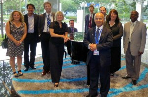 Bhattarai (front) was part of the WEF delegation that attended Singapore International Water Week 2015. Photo courtesy of Amit Pramanik, The Water Research Foundation (Denver).