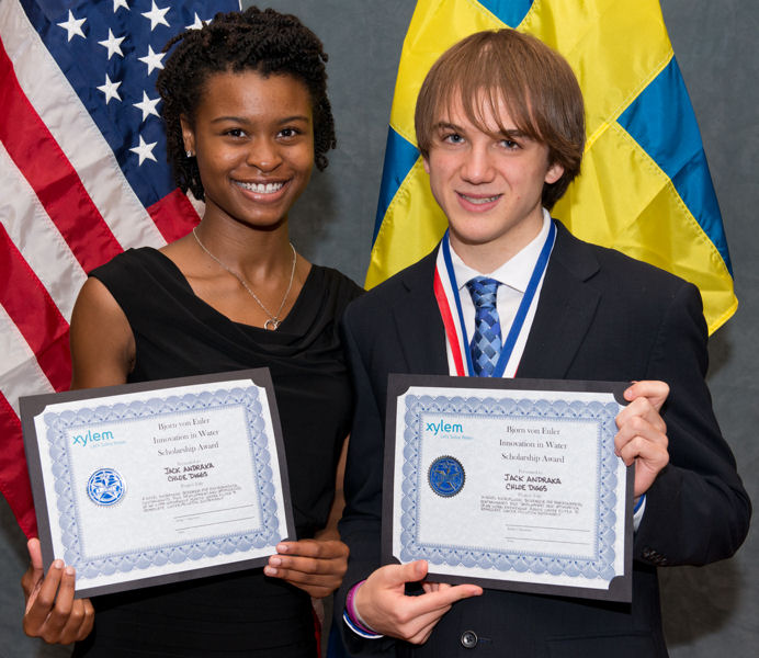 Also at the 2014 U.S. SJWP competition, from left, the team of Chloe Diggs and Jack Andraka from Maryland won the Bjorn von Euler Innovation in Water Scholarship. Photo courtesy of AOB Photo.