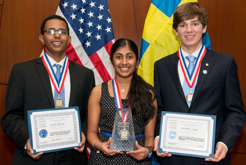 Students recognized for their projects at the 2014 U.S. SJWP competition were, from left, runner up Bluyé DeMessie, winner Kurup, and runner up Zachary Loeb. Photo courtesy of AOB Photo.