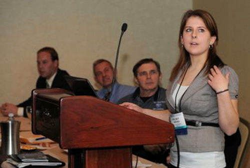 During her internship, Reeves gave a presentation at the New England Water Environment Associations Annual Conference. Photo courtesy of Reeves.