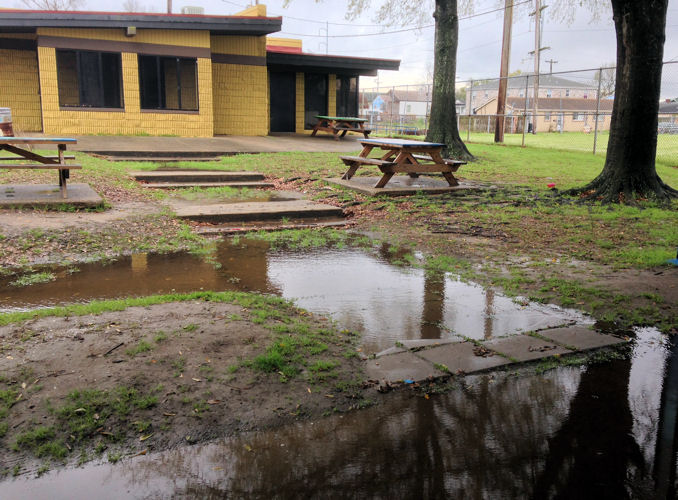Storms flood Conrad Park in New Orleans. WEFTEC 2014 will plant bioswales and rain gardens to reduce flooding. Photo courtesy of Dana Brown.