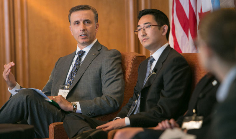 From left, Emilio Tenuta, vice president of Corporate Sustainability at Ecolab (St. Paul, Minn.), and Albert Cho, vice president, Strategy and Business Development at Xylem (Rye Brook, N.Y.), participate in a panel discussion during the summit. Photo courtesy of Kieffer Photography.