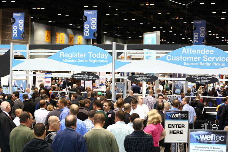 Water professionals register for WEFTEC 2013. Photo courtesy of Oscar Einzig Photography.
