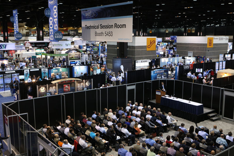 Educational opportunities at WEFTEC include technical sessions held on the exhibit floor. Photo courtesy of Oscar Einzig Photography.