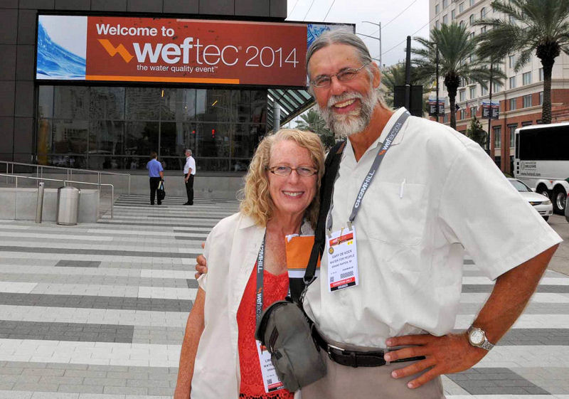 While attending WEFTEC, the De Kocks were able to talk to attendees about their voyage at the Water For People's Big Easy Bash on Sept. 29 and in the Water For People booth on the exhibit floor. Photo courtesy of Gary De Kock.