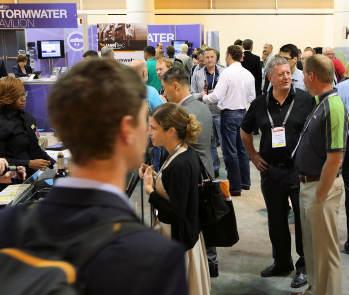 The Stormwater Pavilion featured a concentrated area for exhibiting stormwater companies as well as other highlights such as this networking reception. Photo courtesy of Oscar Einzig Photography.