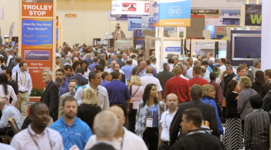WEFTEC 2014 set records with a total of 20,385 registrants and 1027 companies using 28,157 net m2 (303,075 net ft2) of exhibition space.Photo courtesy of Oscar Einzig Photography.