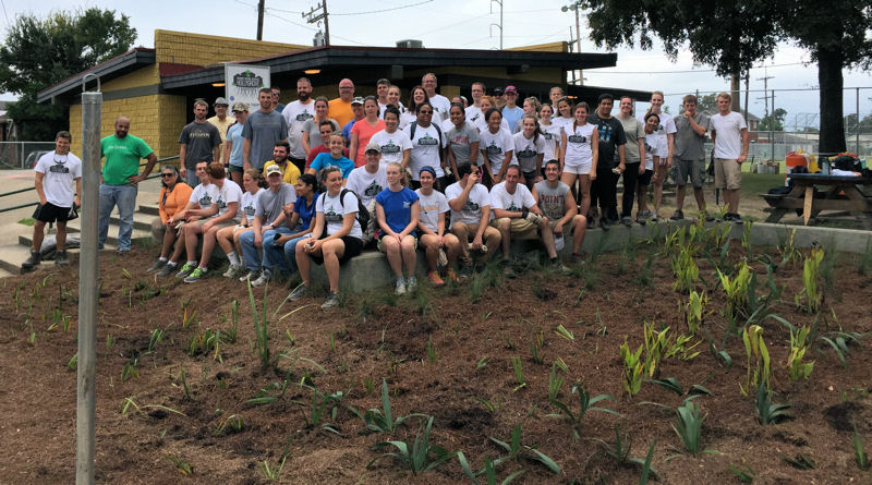 Volunteers helped construct a rain garden, three bioswales, and a pathway, as well as educate the community about stormwater during the WEFTEC 2014 service project in New Orleans. Photo courtesy of Michael Quamme.