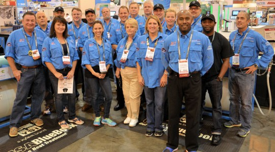 Perkins (front row, second from right) stands with all of the Collections Event judges who volunteered for Operations Challenge held at WEFTEC 2014. Photo courtesy of Perkins.