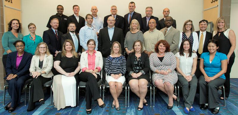 The 2014 Water Leadership Institute graduates and mentors include, front row from left, Erinna Kinney, Christel Dyer, Elizabeth Turner, Amber Baylor, Jennifer McDonnell,Erin Longworth, Kerstin Kenty,  Kenty, Nicole Condon, and Tina Pham; middle row from left, Renee Kayal, Suzanne Mechler,Tye Jordan, Brian Boyer, Ely Greenberg, James Cooper, Christine Putnam, Bryan Berdeen, David Hunter,Kelsey Hurst, Christopher Stacklin, and Susan Strong; back row from left, Prasad Chittaluru, Guy Voss, Jeffrey King, Scott Conklin, John Friel, James Langley, and Justin Waples. Photo courtesy of Oscar Einzig Photography.