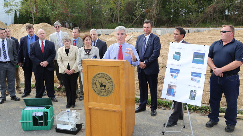Suffolk County (N.Y.) Executive Steve Bellone announces the county's free advanced wastewater treatment system lottery that is part of an overall demonstration program that is part of the county's efforts to help reduce nitrogen loading to surface and groundwater. Photo courtesy of Suffolk County, N.Y.