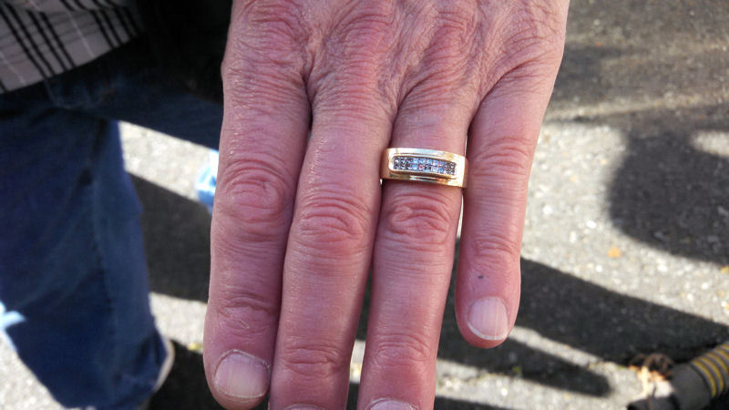 Martinez said Warren was very happy to find the engagement ring and maintenance crews were able to do it with only 4 hours of searching. Photo courtesy of Martinez.
