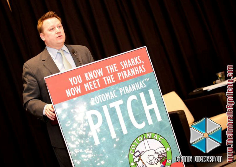 Seth Brown, Water Environment Federation (WEF; Alexandria, Va.) stormwater staff member, speaks during the Capital Panel at the Potomac Piranhas Pitch event. Photo courtesy of Piranha Branding LLC (Alexandria, Va.) and The Umbrella Syndicate LLC (Washington, D.C.).