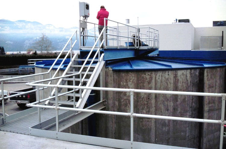 Fermenters are covered to control odors. The Regional District of Central Okanagan in Kelowna, Bristish Columbia installed the world's second fermenter at the Westside Regional Wastewater Treatment Plant, previously known as the Westbank Wastewater Treatment Plant, said James Barnard. Photo courtesy of Gerry Stevens and the Regional District of Central Okanagan.