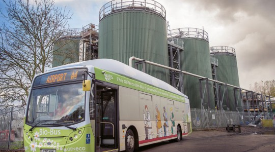 The annual waste from five people produces enough biomethane to fill the fuel tank of the 40-passenger Bio-Bus once, enough for a 300 km journey. The bus now travels a route that carries an average of 46,500 passengers every week. Photo courtesy of Wessex Water, Julian James Photography.