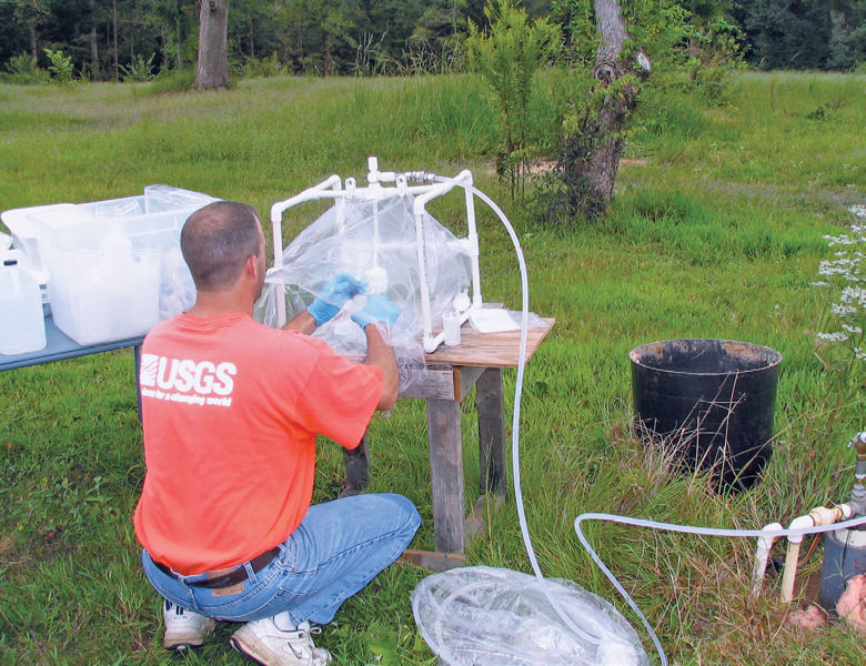For the national groundwater quality report, water samples were collected from more than 6000 domestic, public-supply, and monitoring wells. Photo courtesy of the U.S. Geological Survey.